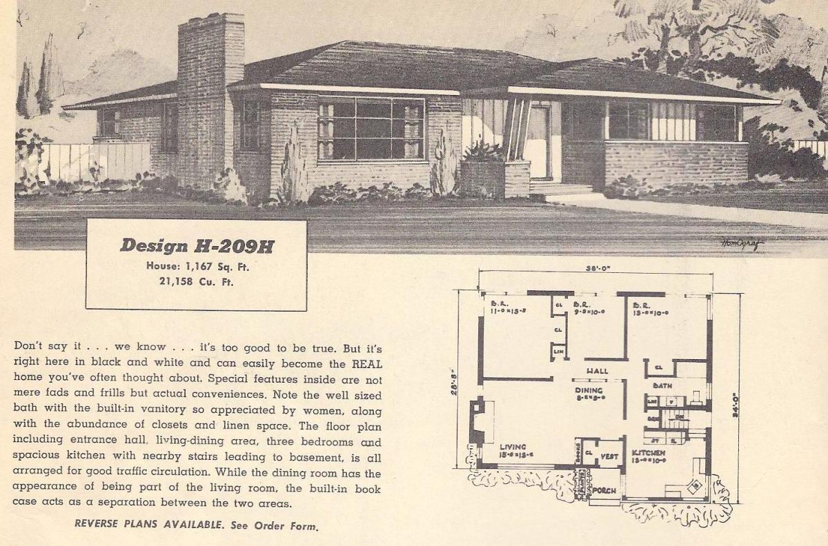 Vintage house plans 209h antique alter ego for 1950s ranch style house plans