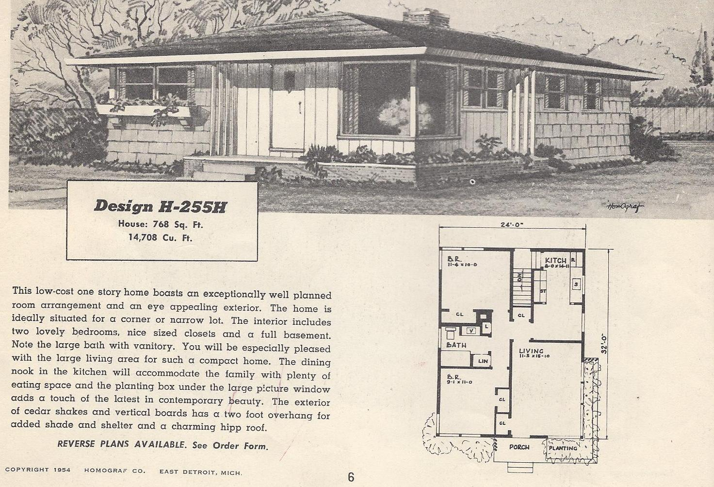 Vintage house plans 255h antique alter ego for Retro modern house plans