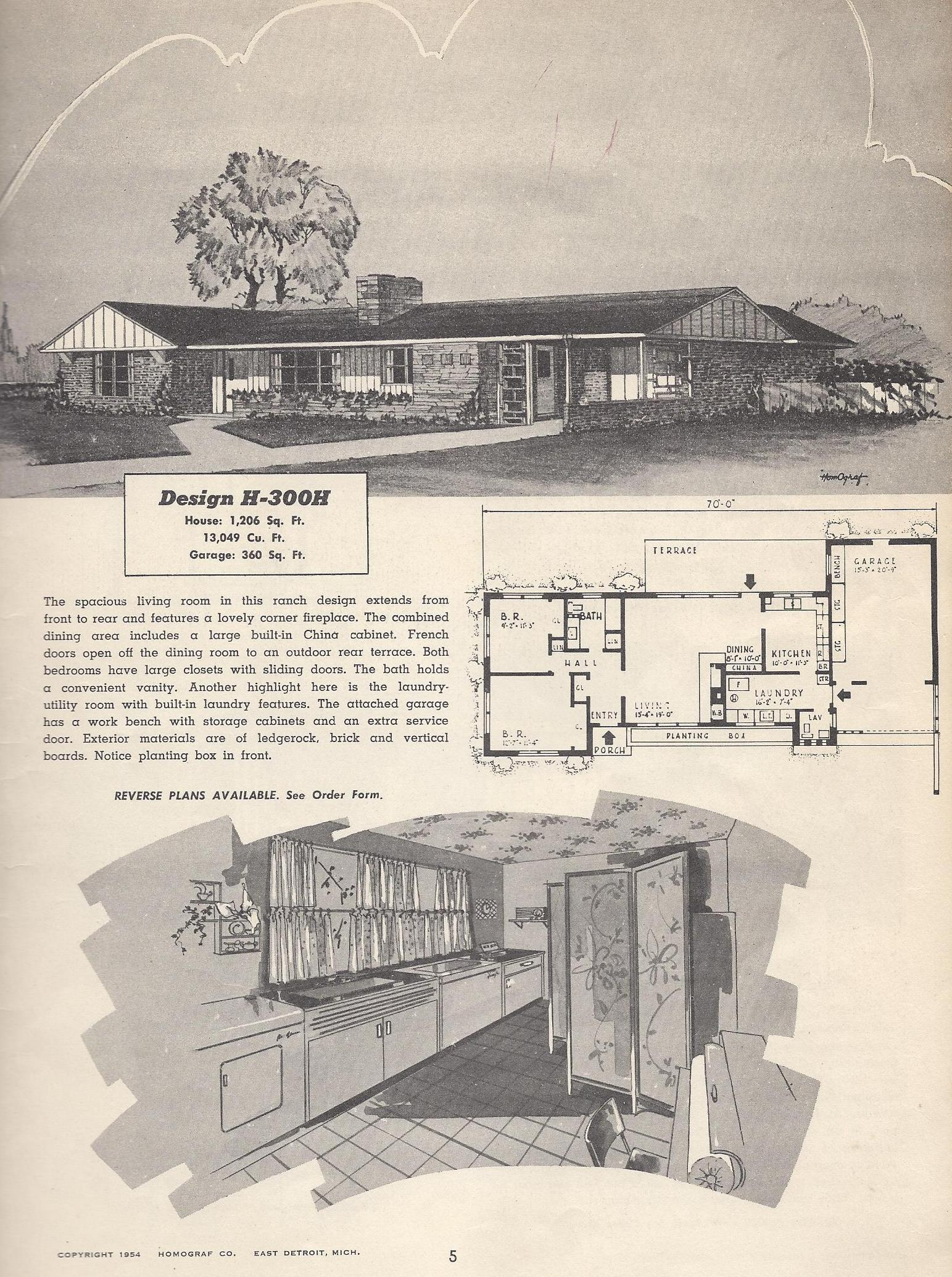 Vintage house plans 300h antique alter ego for Vintage ranch house plans