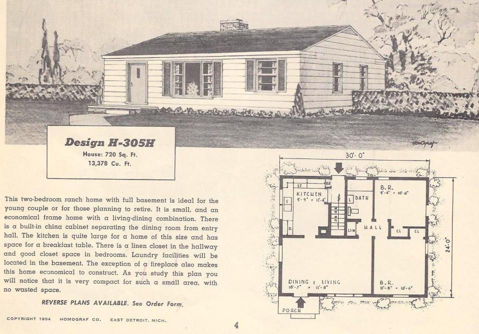 Vintage house plans 305h antique alter ego for 1950s house plans