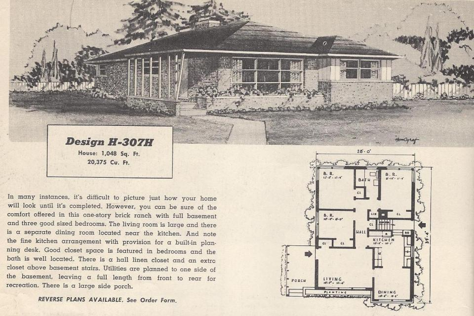 Vintage house plans 307h antique alter ego for Vintage ranch house plans