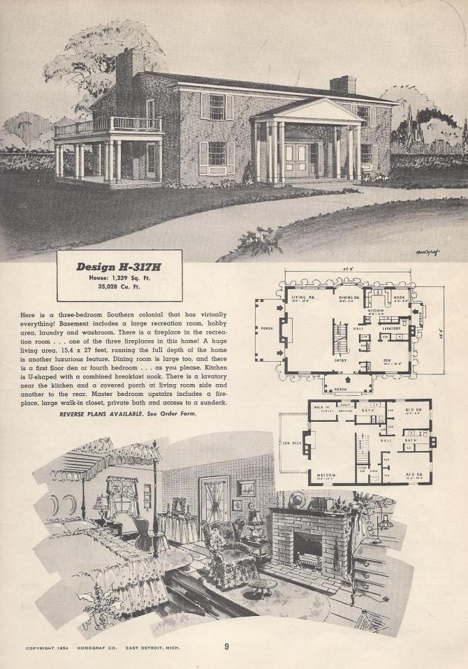 Vintage house plans 317h antique alter ego for 1950s house plans