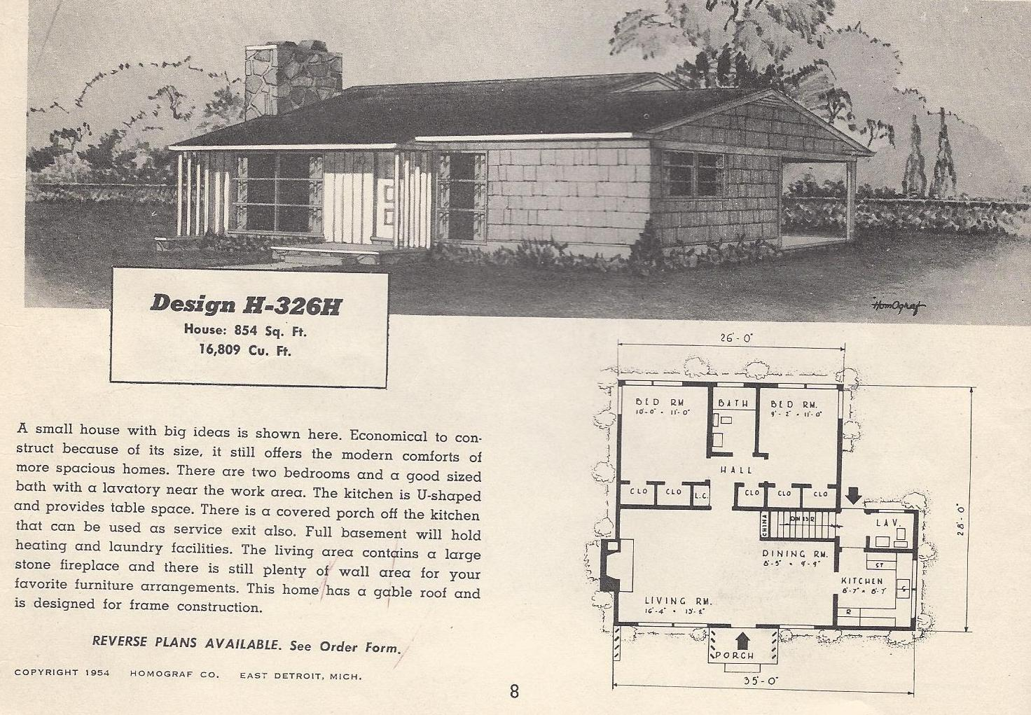 Vintage house plans 326h antique alter ego for Vintage ranch house plans