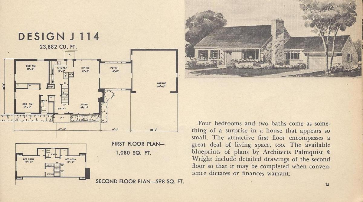 Vintage House Plans J114 | on 1950s small house landscaping, 1950s small tile flooring, 1950s small farm house plans, 1950s office floor plans, 1950s small home, 1950s small ranch house plans,