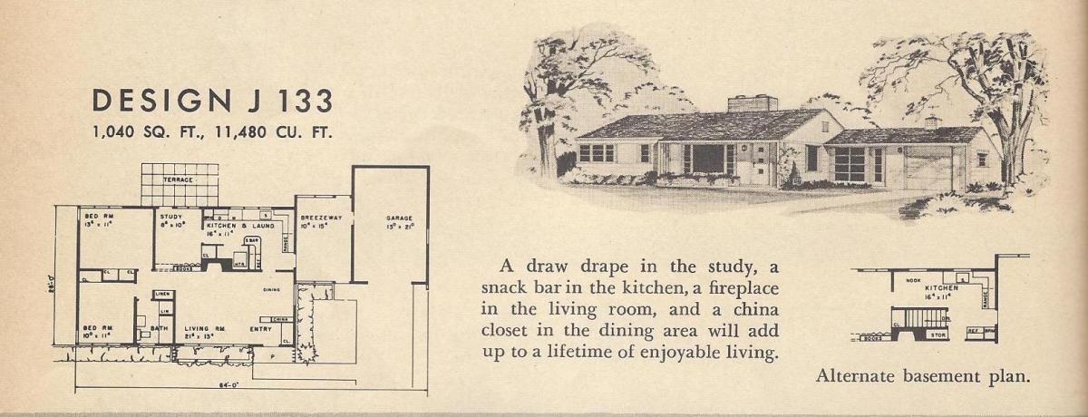 Vintage House Plans, Mid Century Houses, 1954 Homes