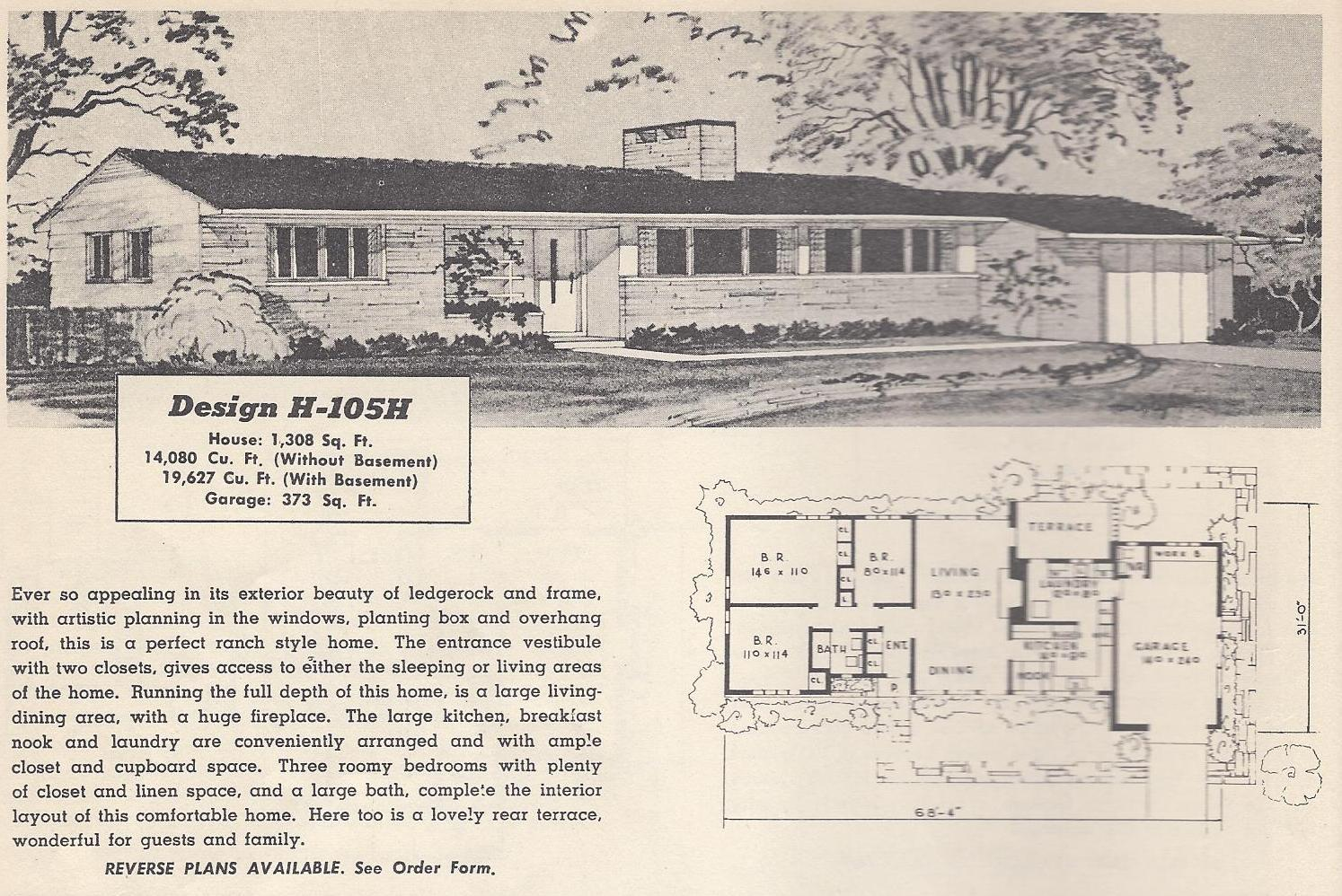 Vintage house plans 105h antique alter ego for 1950s house plans