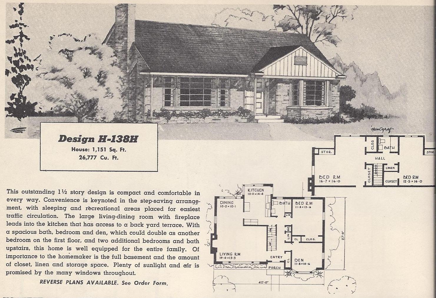 Vintage house plans 138h antique alter ego for Vintage ranch house plans