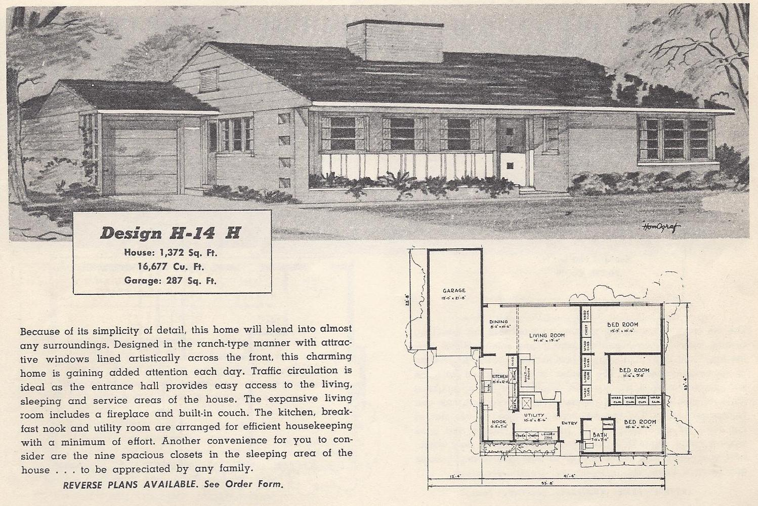 Vintage house plans 14h antique alter ego for Vintage ranch house plans