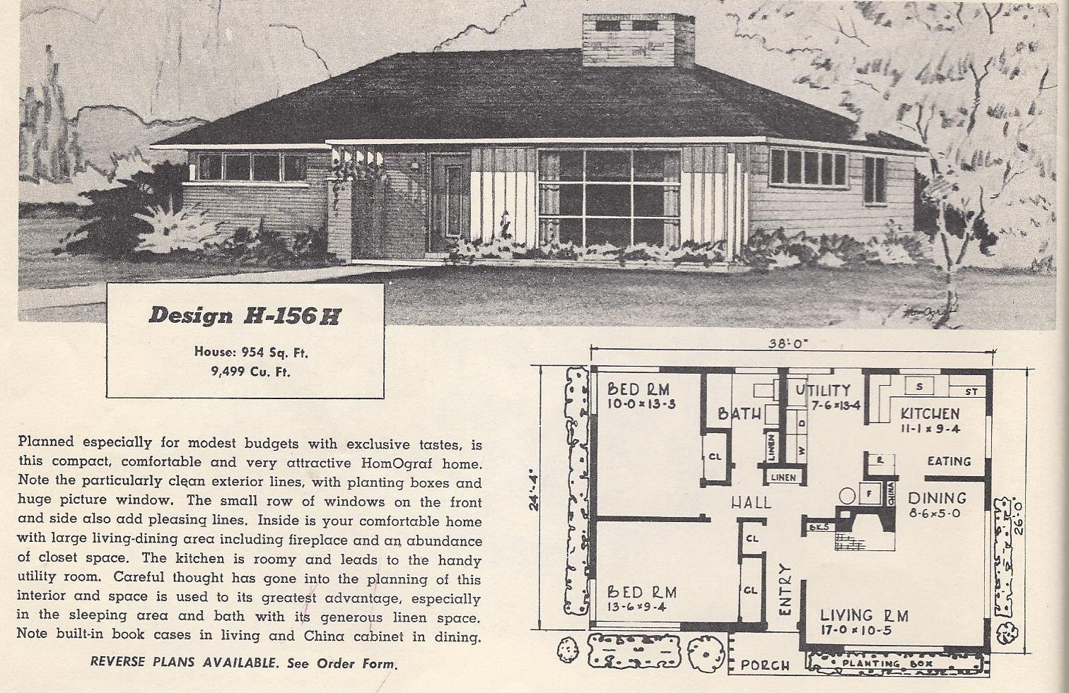 Vintage house plans 156h antique alter ego - Retro home design ...