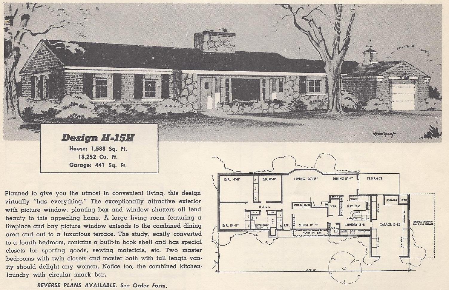 Vintage house plans 15h antique alter ego for Vintage ranch house plans