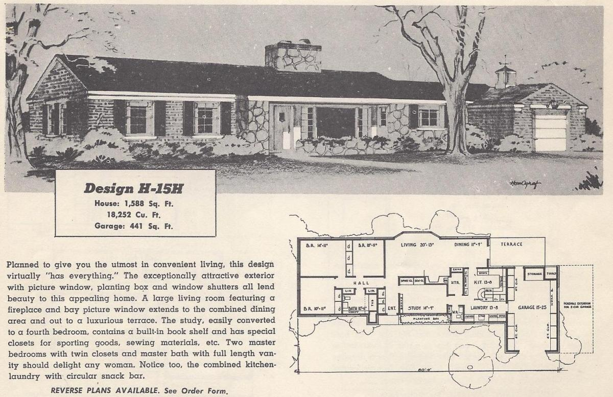 Vintage house plans 15h antique alter ego for 1950 s house plans