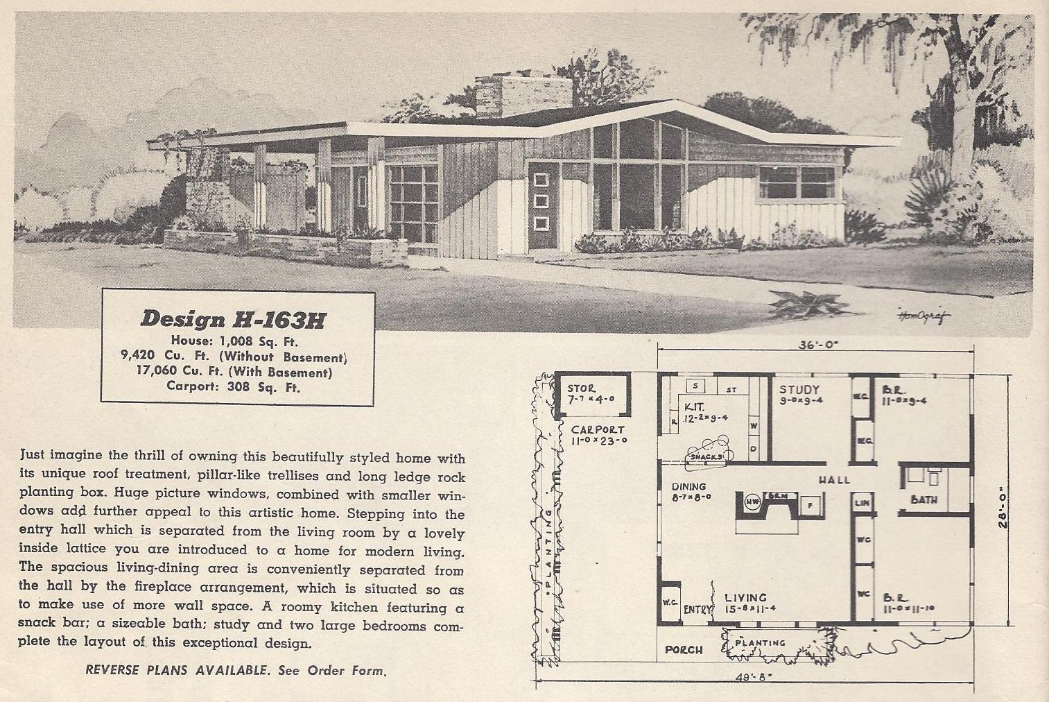 Vintage House Plans 163h on 1960s L Shaped Ranch House Plans