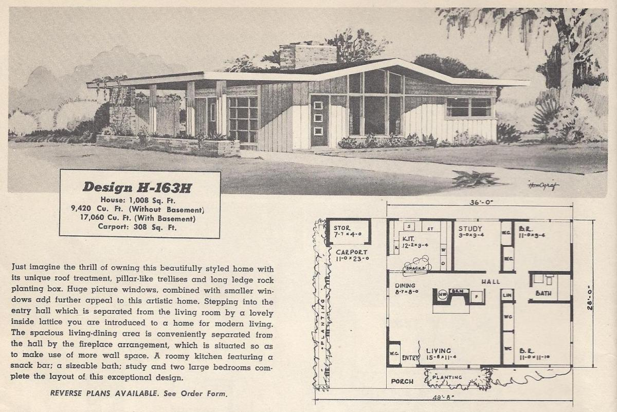Vintage house plans 163h antique alter ego for Retro house design