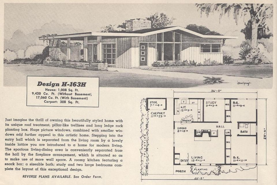 Vintage house plans 163h antique alter ego for 1950s house plans