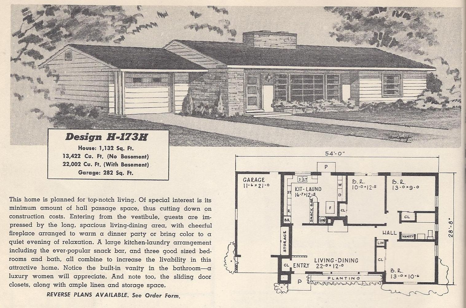 Vintage house plans 173h antique alter ego 1960s ranch style house plans
