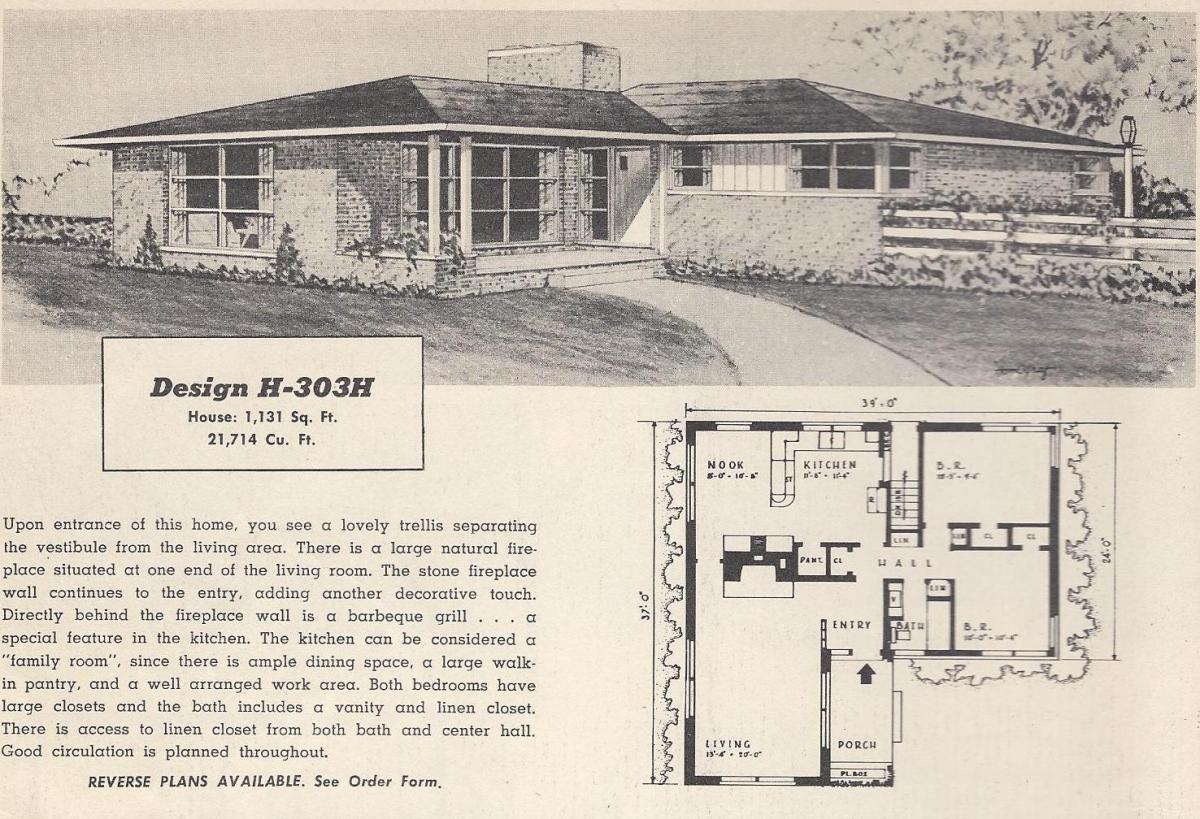 Vintage House Plans, 1950s Houses, Mid Century Houses