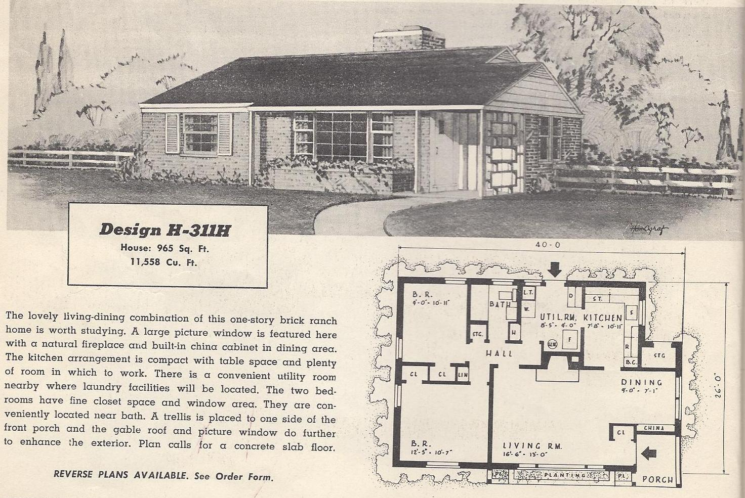 Vintage house plans 311h antique alter ego - Retro home design ...