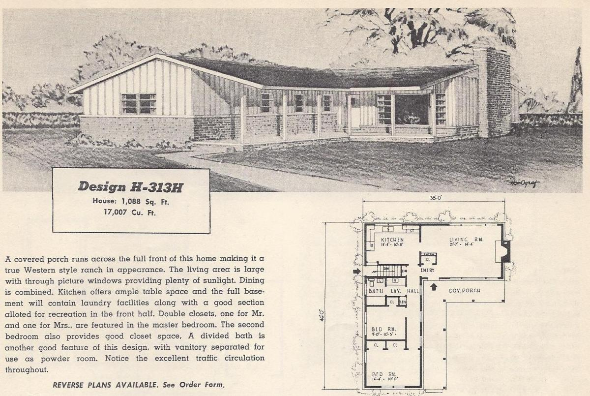 Vintage house plans 313h antique alter ego for Vintage ranch house plans