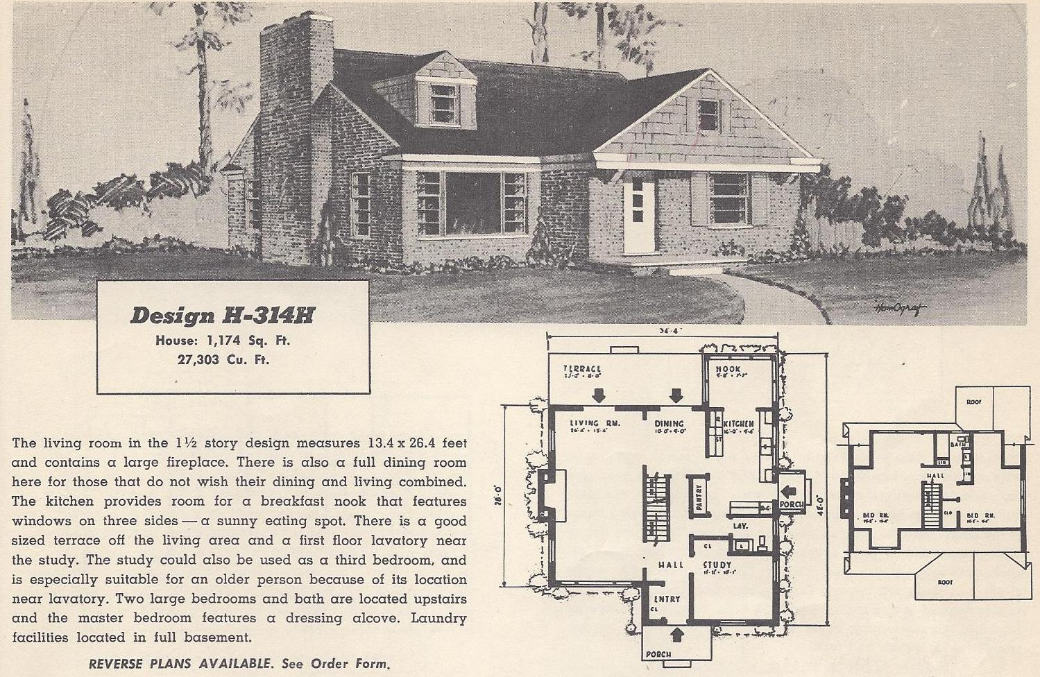 Vintage house plans 314h antique alter ego - Retro home design ...