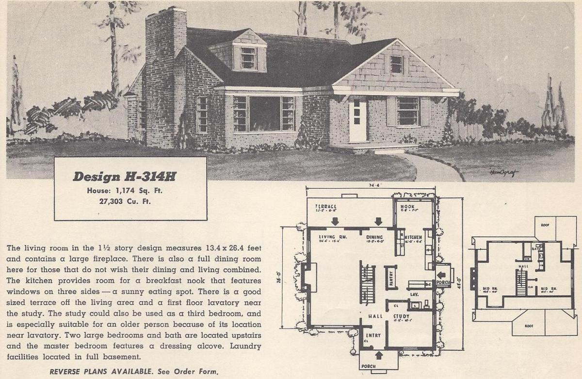 Vintage house plans 314h antique alter ego for 1950s house plans