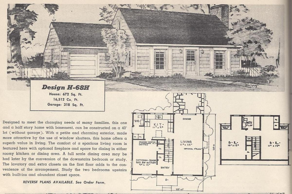 Vintage House Plans, 1950s Homes, Mid Century Houses