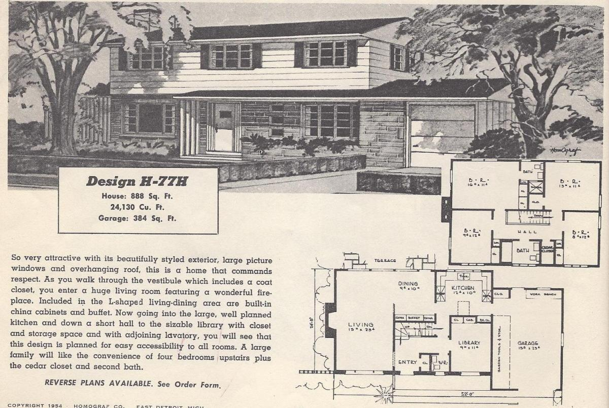 Vintage house plans 77h antique alter ego for 1950 s house plans