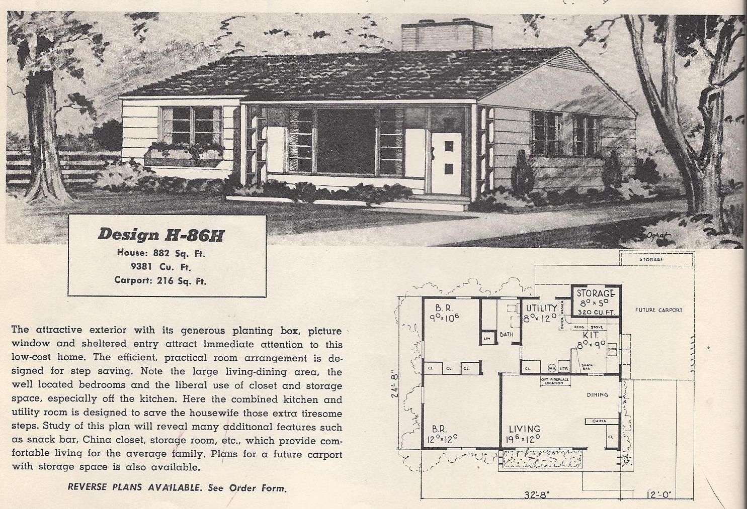 Vintage house plans 86h antique alter ego for Vintage ranch house plans