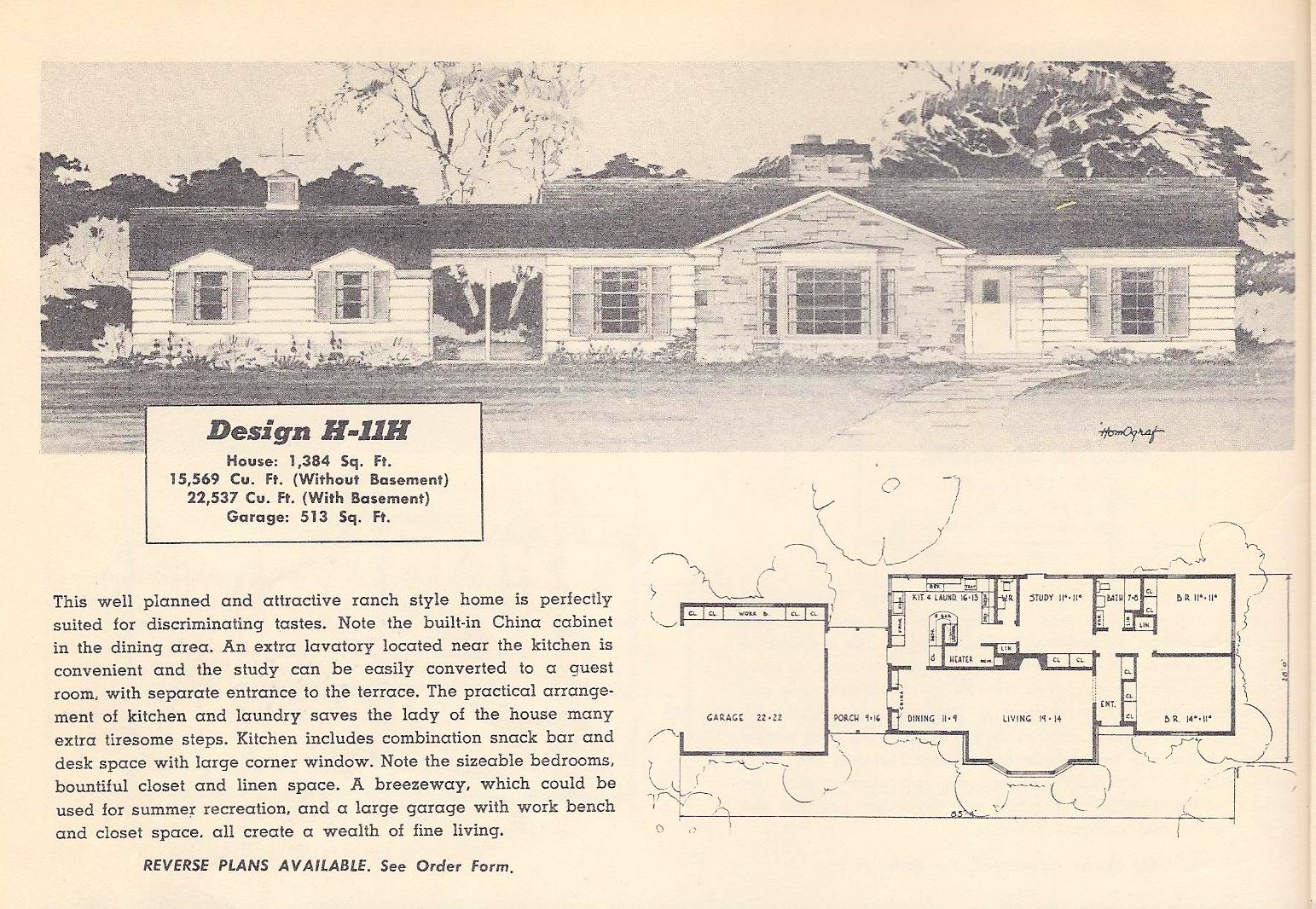 Vintage house plans 11h antique alter ego for Vintage ranch house plans