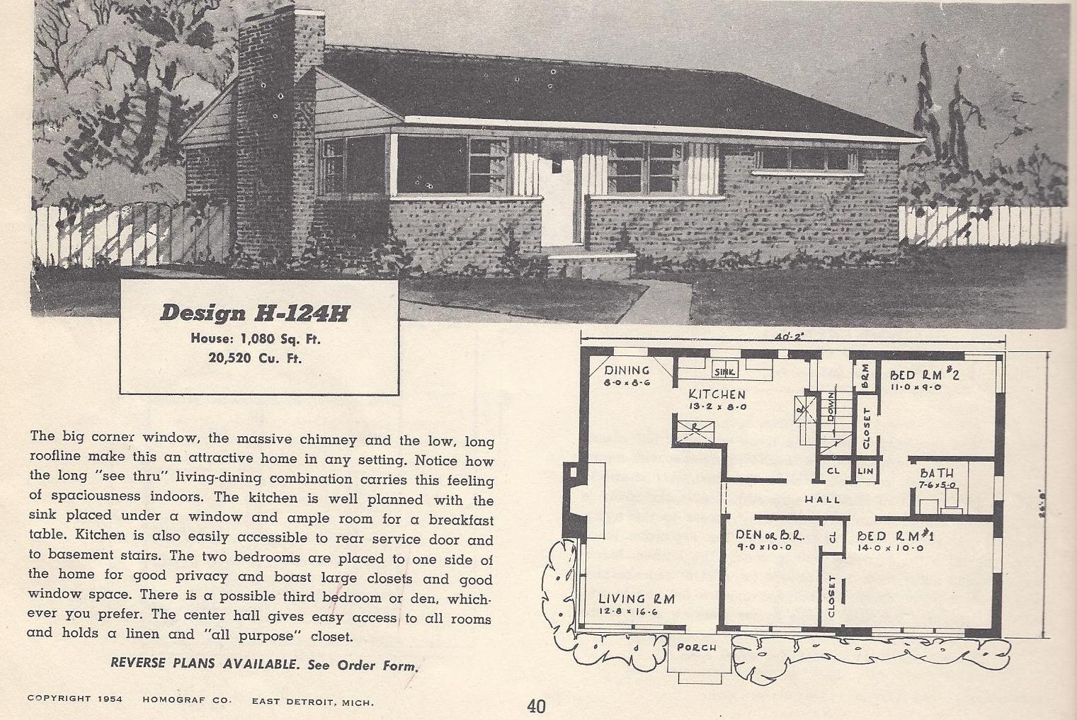 Vintage house plans 124h for Vintage ranch house plans