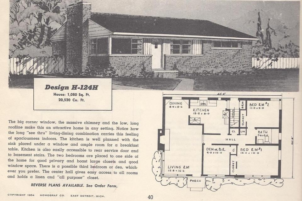 Vintage house plans 124h antique alter ego for 1950s ranch house plans