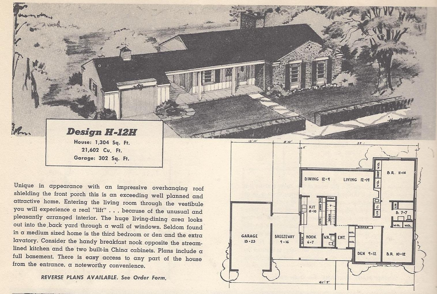 Vintage house plans 12h antique alter ego for Vintage floor plans