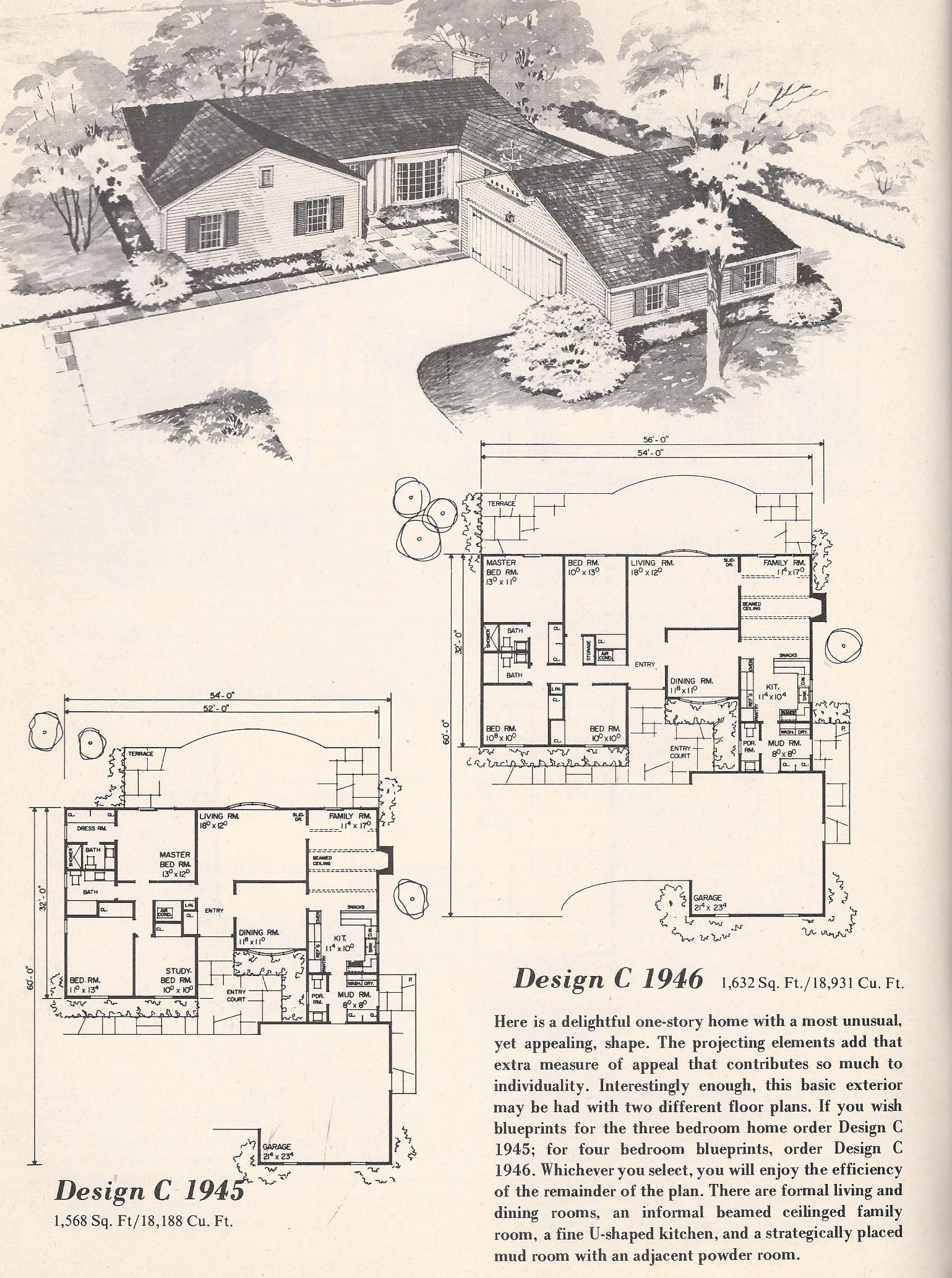 Vintage house plans 1946 antique alter ego for 1960 house plans