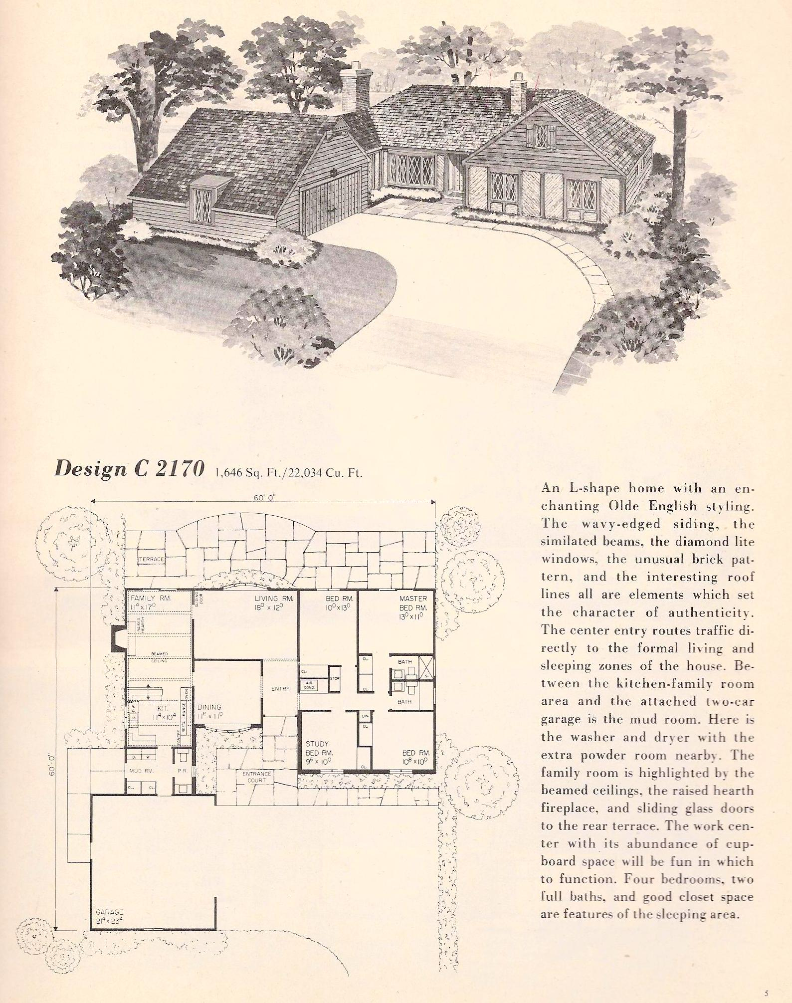 Vintage house plans 2170 antique alter ego for Classic tudor house plans