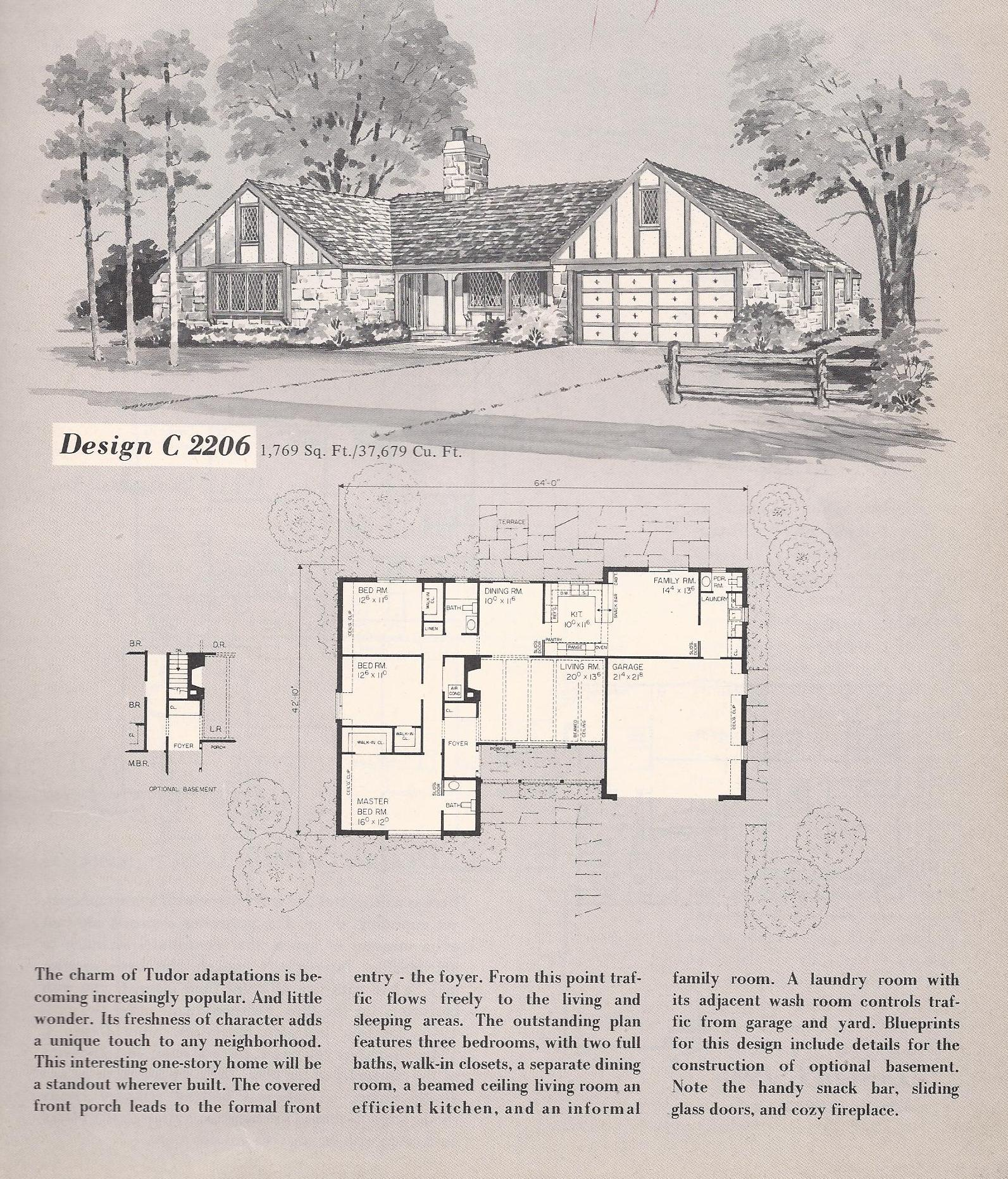 Vintage house plans 2206 antique alter ego for Classic tudor house plans