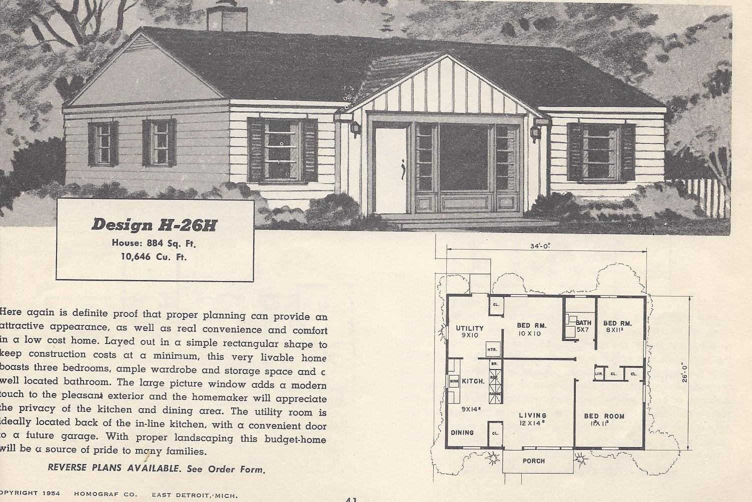 Vintage house plans 26h antique alter ego for Vintage ranch house plans