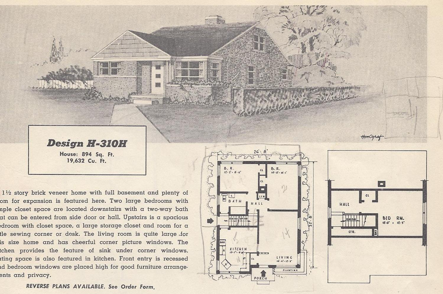 Vintage house plans 310h antique alter ego for Vintage ranch house plans