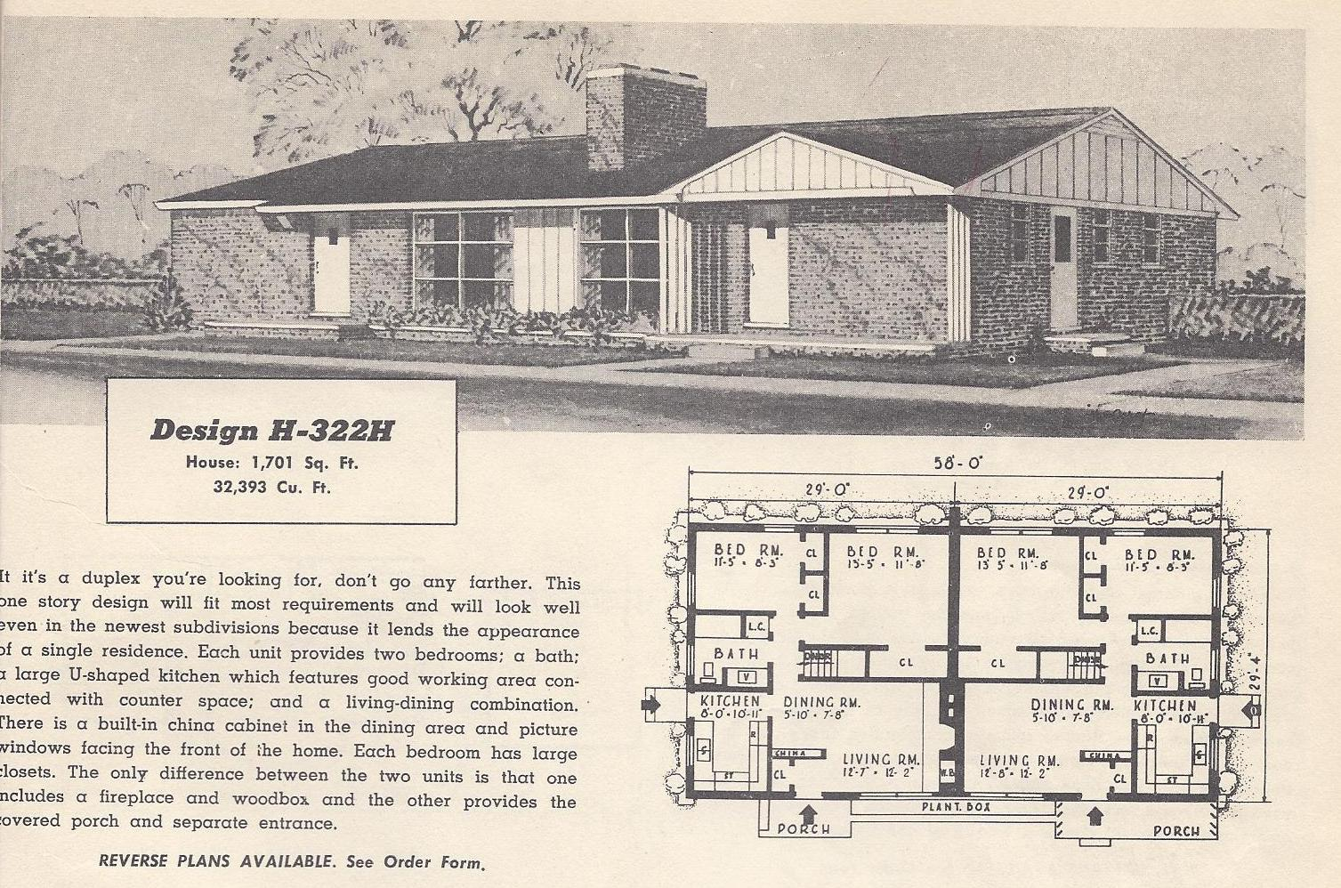 Vintage house plans 322h antique alter ego for Vintage ranch house plans