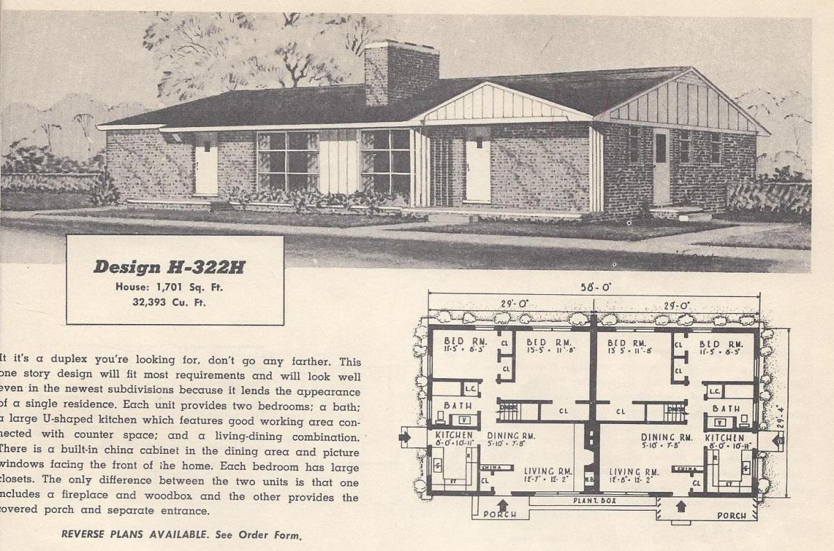 Vintage house plans 322h antique alter ego for 1950s cape cod house plans