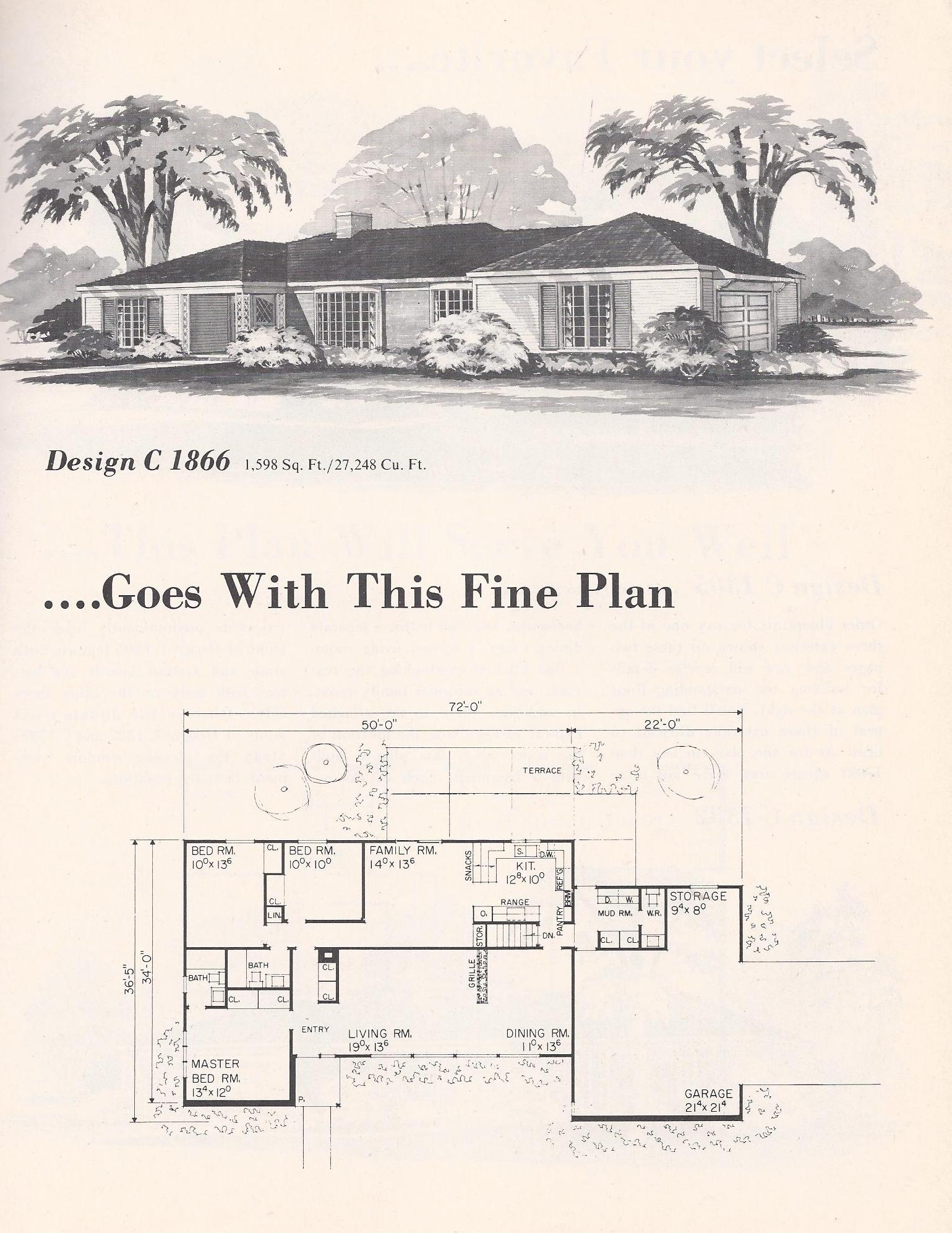 Vintage house plans 3ext2a antique alter ego for 1960 s home plans