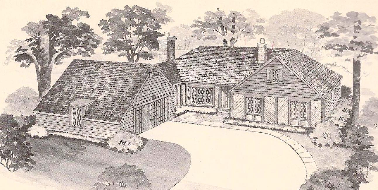 Vintage House Plans 1960s Tudor L Shape Brick Veneer