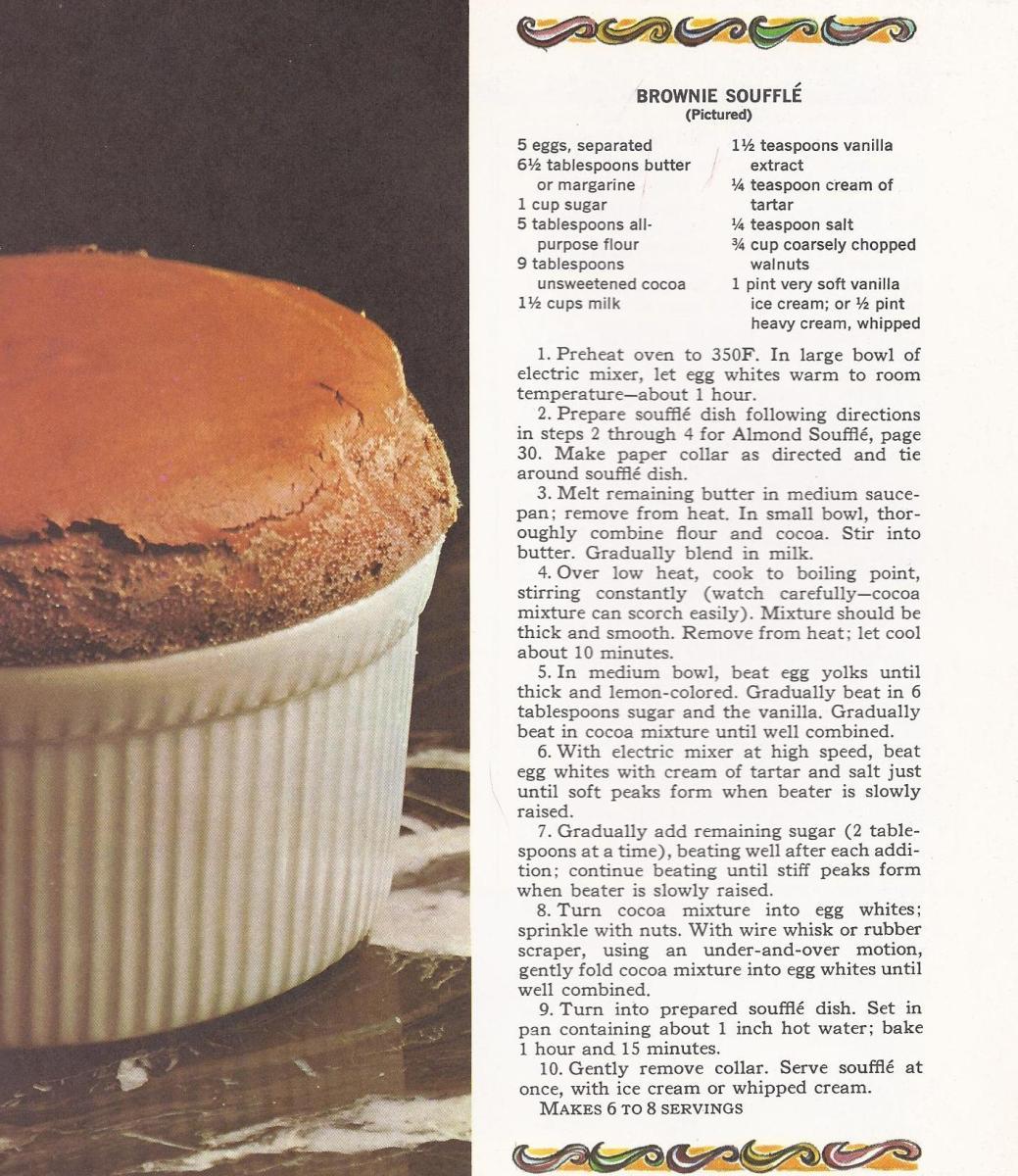 1960s Dessert Recipes, Vintage Dessert Recipes, Brownie Souffle