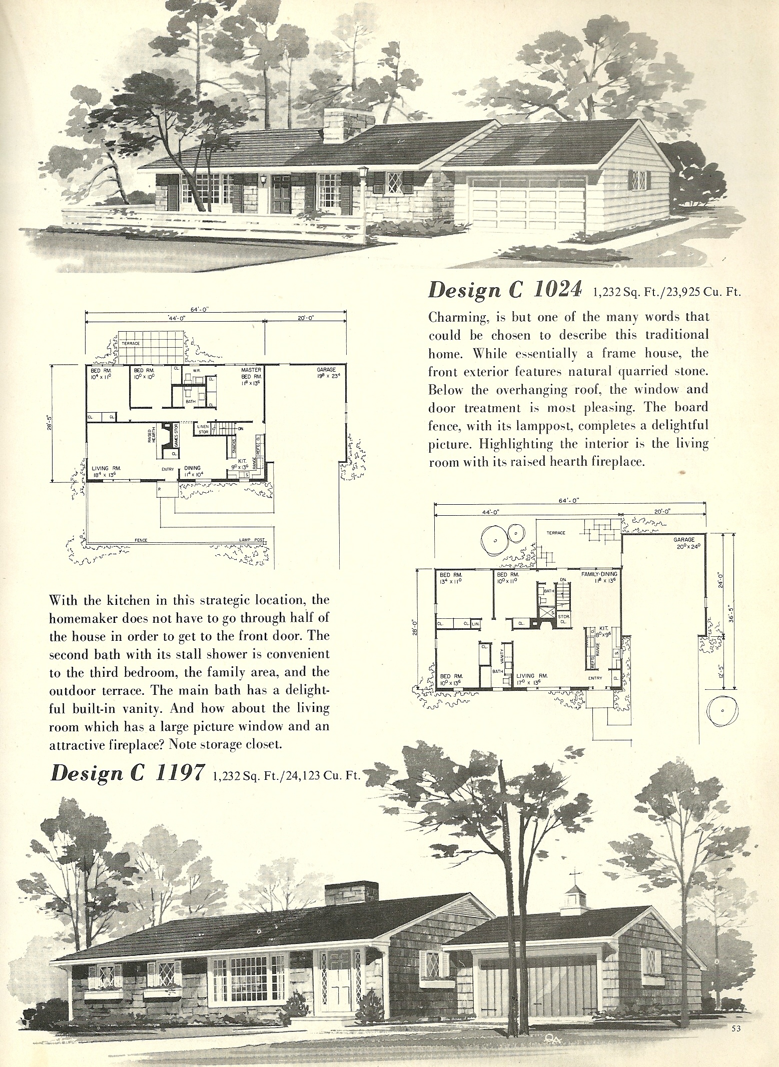 Vintage House Plans 1024 on 1960s L Shaped Ranch House Plans