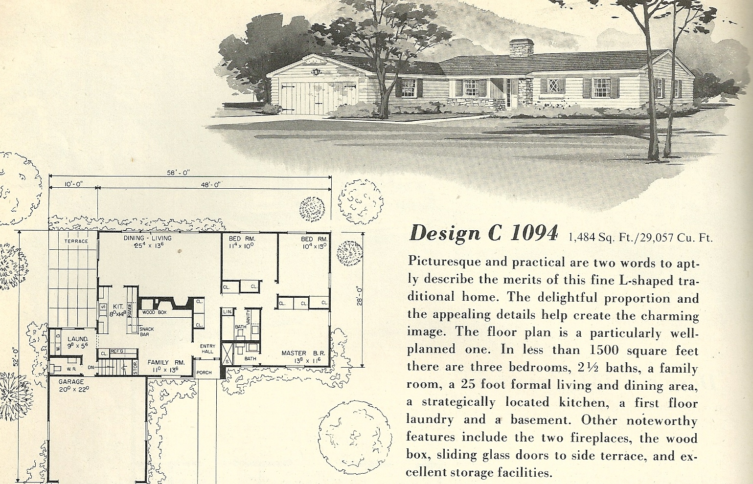 Vintage house plans 1094 antique alter ego for 1960 ranch house plans
