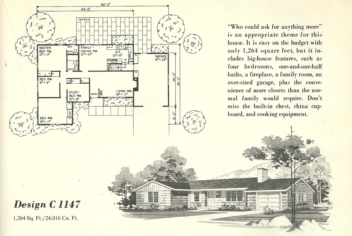 Vintage House Plans, 1960s Homes, Mid Century Houses