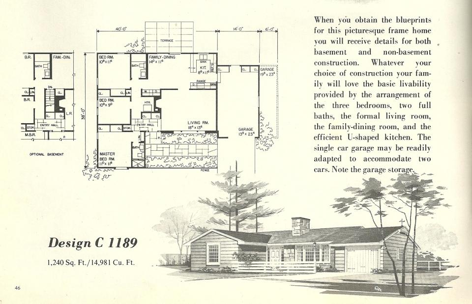 Vintage house plans 1189 antique alter ego for 1960s floor plans