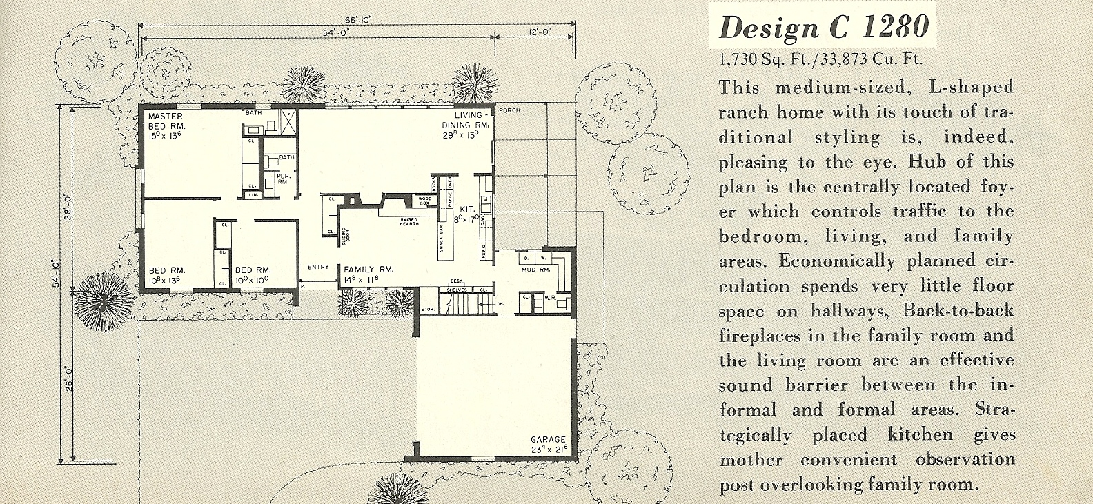 Vintage house plans 1280a antique alter ego 1960s ranch style house plans