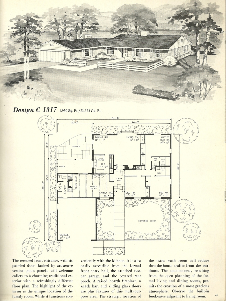 Vintage house plans 1317 antique alter ego for Vintage floor plans