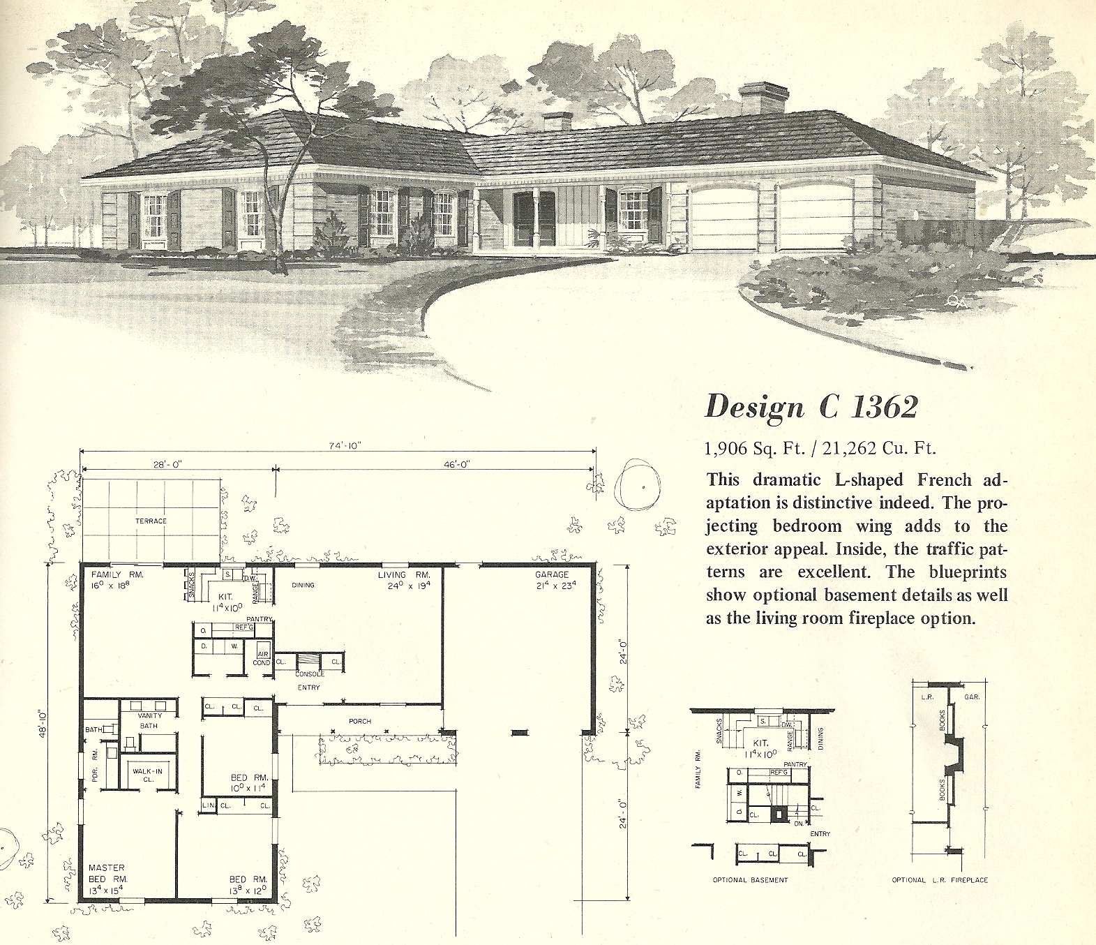 Vintage house plans 1362 antique alter ego for T shaped house design