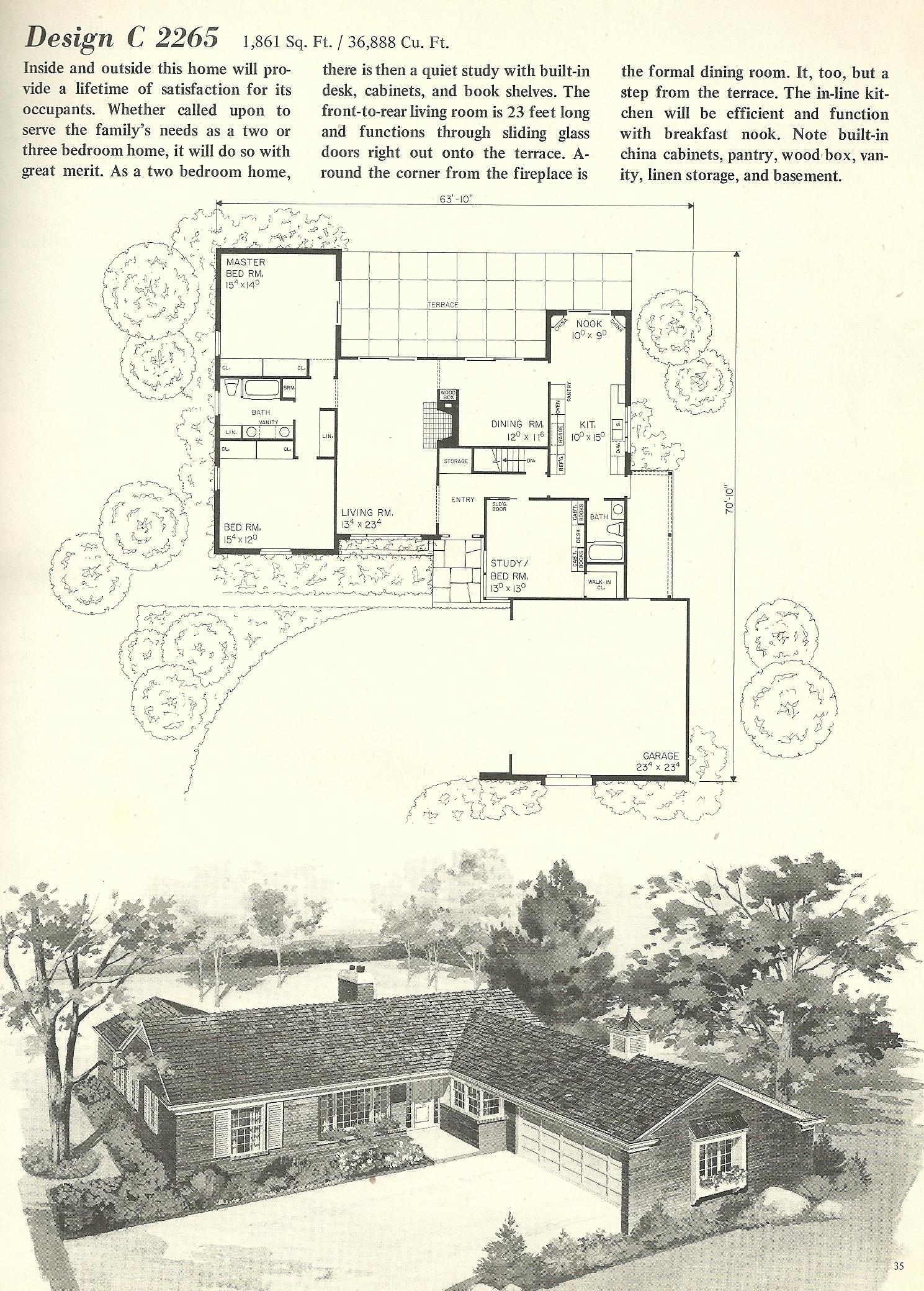 Vintage house plans 2265 antique alter ego for 1960s home floor plans