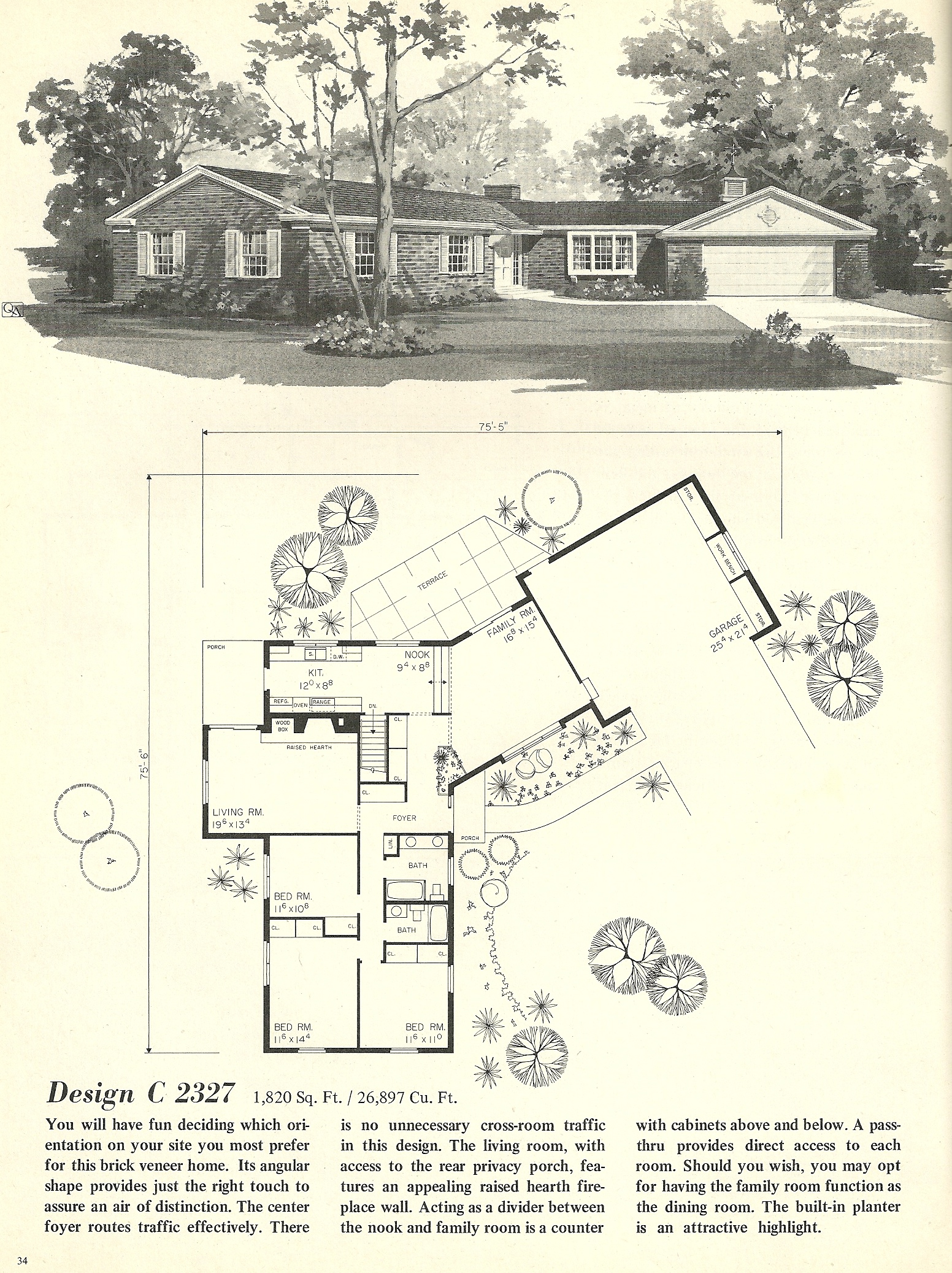 Vintage house plans 2327 antique alter ego for 1960 ranch house plans